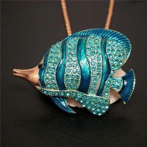 Fish 🐟 Blue Crystal Enamel Pendant Necklace